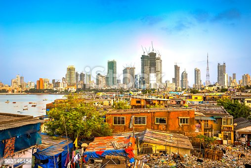 Mumbai cityscape with a big contrast between poverty and wealth, Maharashtra, India