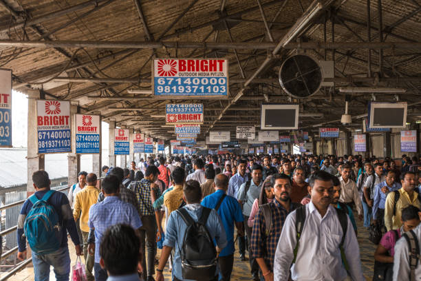 08/08/2020 Mumbai, India, Crowded Chhatrapati Shivaji Terminus. Mumbai Suburban Railway known as Super-Dense Crush Load and most severe overcrowding in the world stock photo