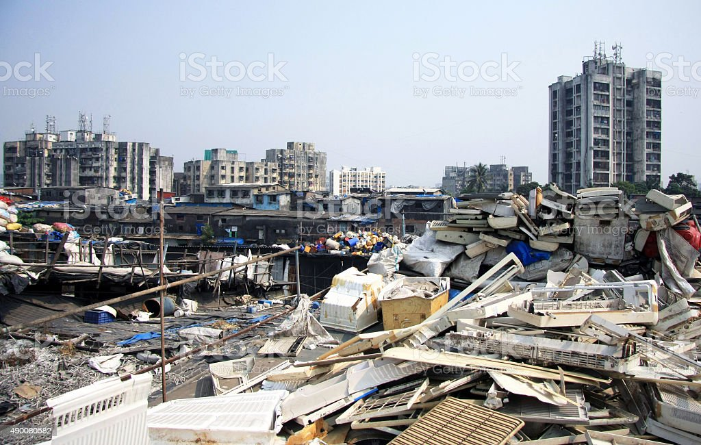Mumbai Rooftop Slums piled high with rubbish stock photo