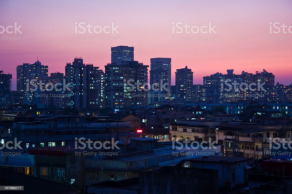 Mumbai skyline at night stock photo