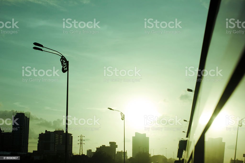 mumbai view at nightfall stock photo