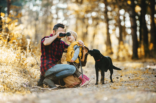 mumford A mature father with a dog and a toddler son in an autumn forest, using binoculars.