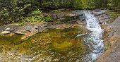Harrachov, Czech Republic, July 8, 2020: Waterfalls on the small river Mumlava in the North Bohemian Giant Mountains, a tourist destination.