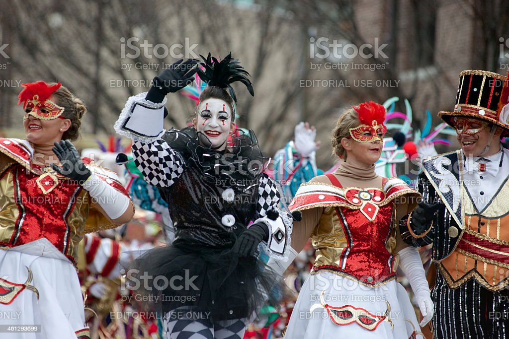 Mummers strut during Philly's New Years Day Parade stock photo
