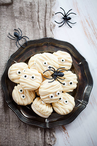 Mummy macaroons for Halloween stock photo