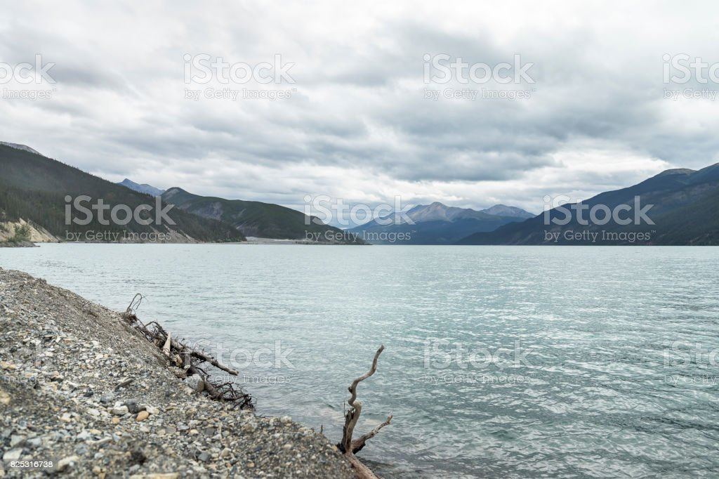 Muncho Lake on the Alaska Highway stock photo