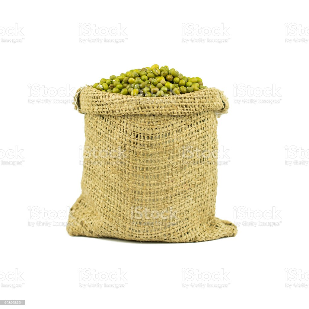 Mung bean green in Jute bag bowl isolated on white stock photo