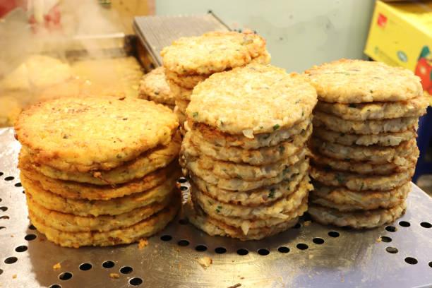 mung bean pancake (korean style pancake) in traditional market stock photo