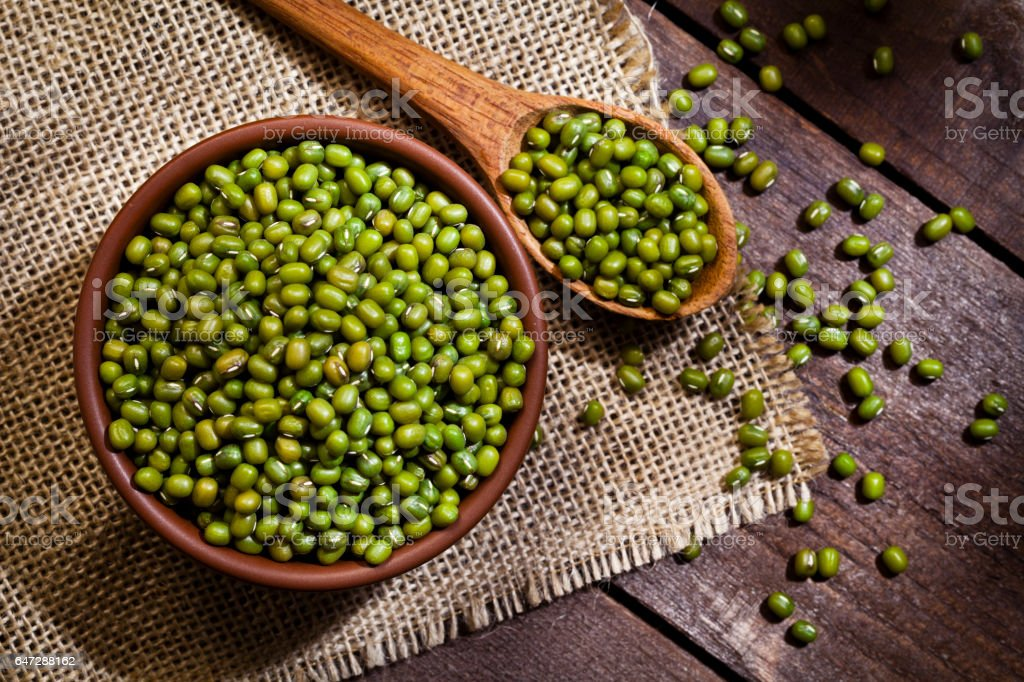 Mung beans in a bowl stock photo