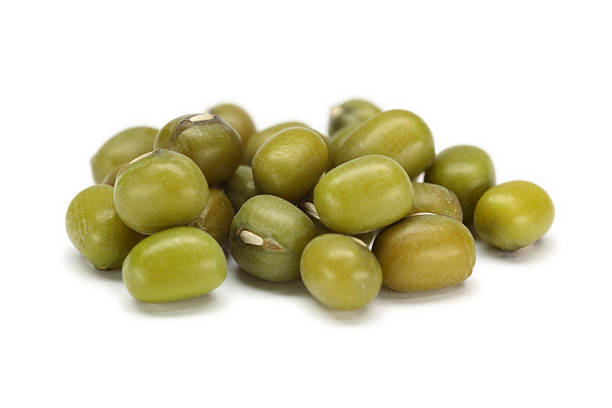 mung beans (vigna radiata) isolated on white stock photo