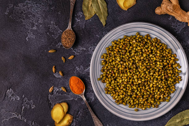 Mung beans with spices. stock photo