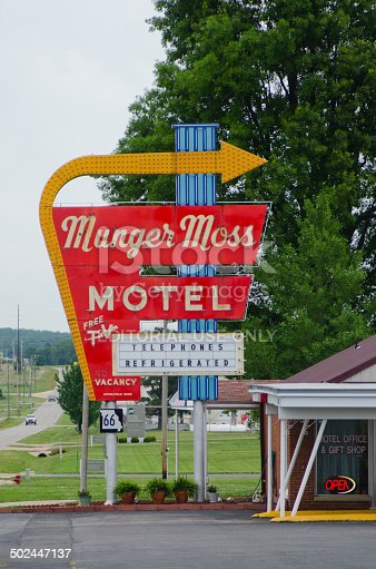 Lebanon, United States - June 8, 2014: The Munger Moss Motel, an original lodge on Route 66, still operates along the iconic roadway in Lebanon, Missouri.  Note that its original sign still offers