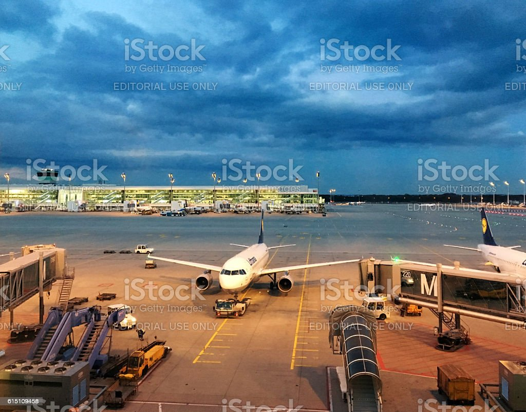 Munich Airport gates with Lufthansa airplane, Germany - foto de stock
