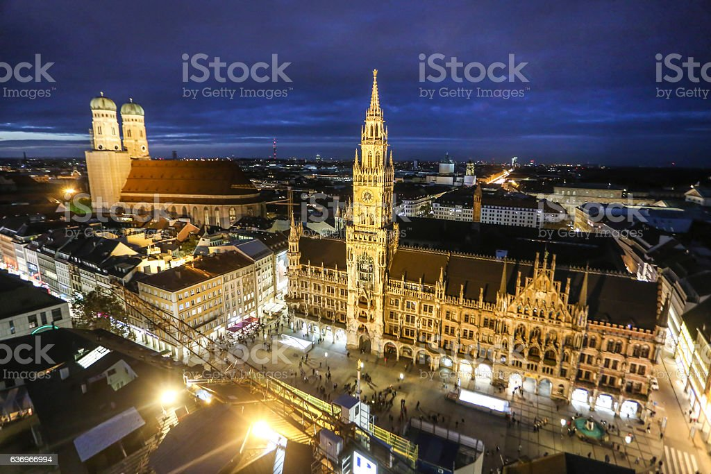 Munich at night stock photo