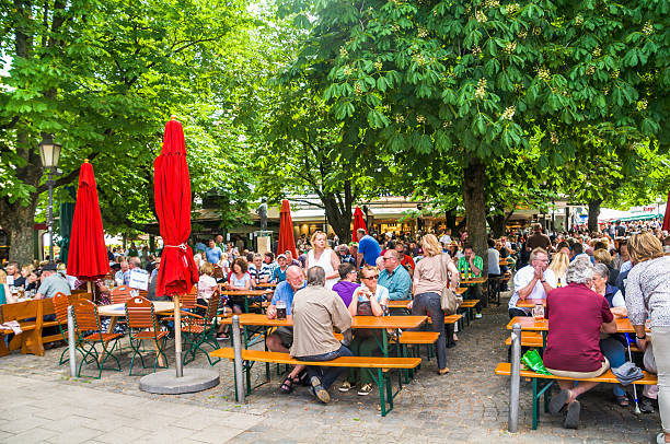 Munich Beer Garden stock photo