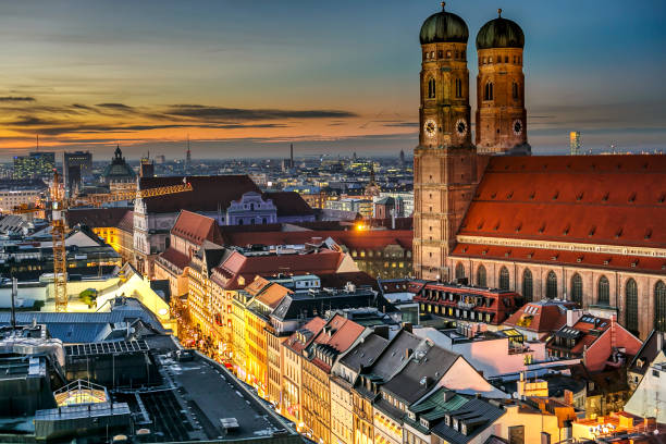 Munich city center (Marienplatz with Frauenkirche and old townhall) stock photo