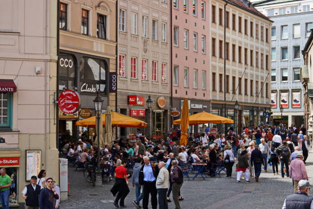 Munich City Centre 2019 -  Alley at the Viktualienmarkt. Bavaria. stock photo