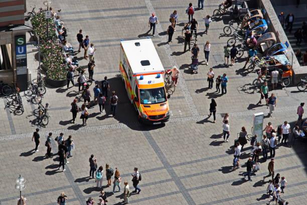 Munich City Centre 2019 - Ambulance at Marienplatz. Bavaria, Germany. stock photo