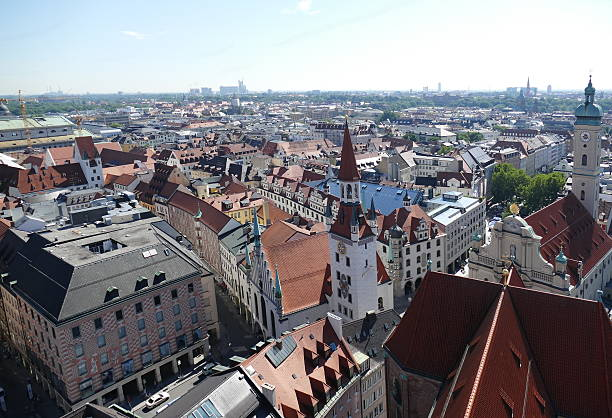 munich – city panoramic view from the alter peter's tower - sankt peterskyrkan münchen bildbanksfoton och bilder