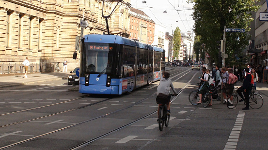 Munich City Street Tram And People Scenery In Bavaria Germany. Europe