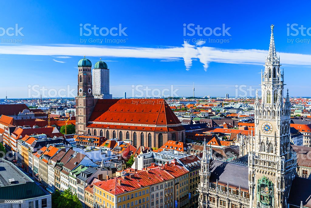 Munich Frauenkirche and New Town Hall Munich, Bavaria, Germany stock photo