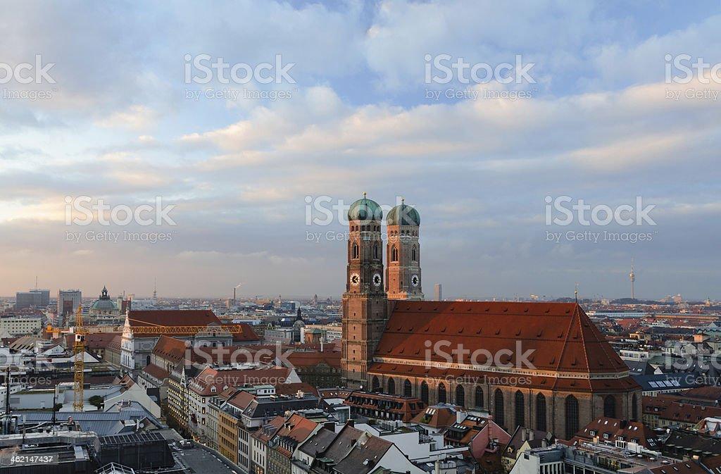 Munich Frauenkirche at Sunset stock photo
