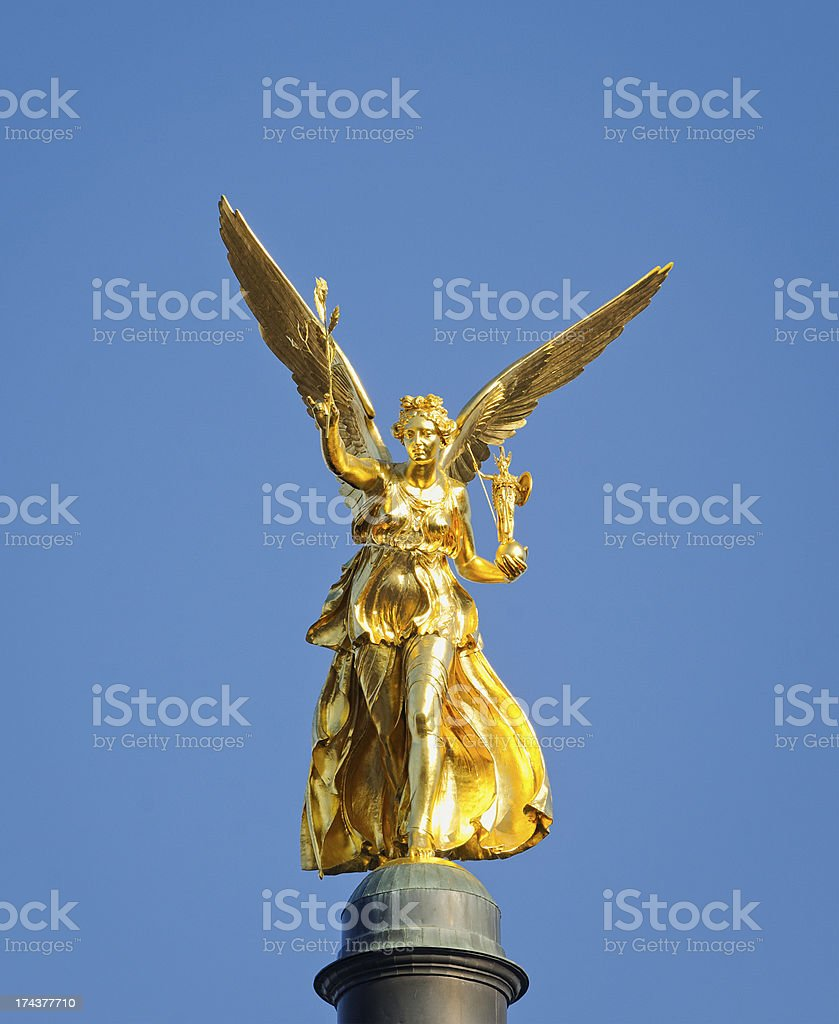 Munich Golden Friedensengel (Angel of Peace) Statue stock photo