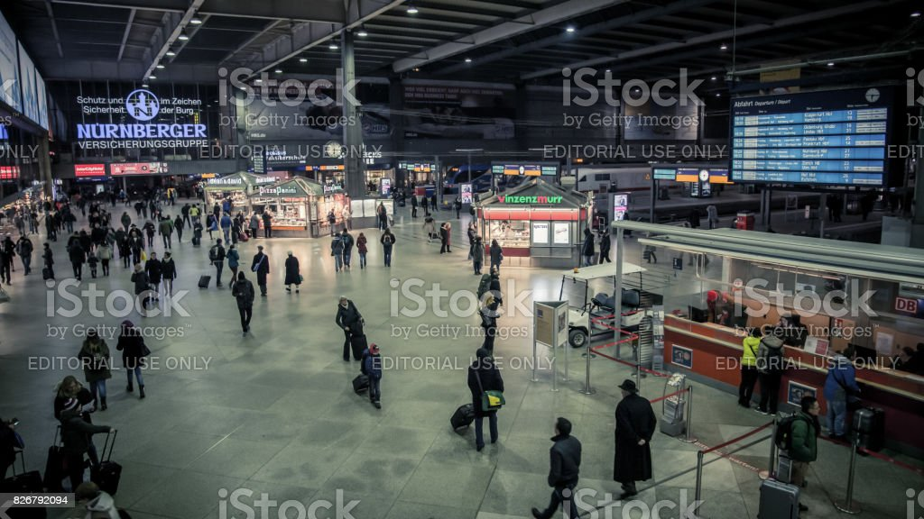 Munich Hauptbahnhof is the main railway station in the city of Munich, Germany stock photo