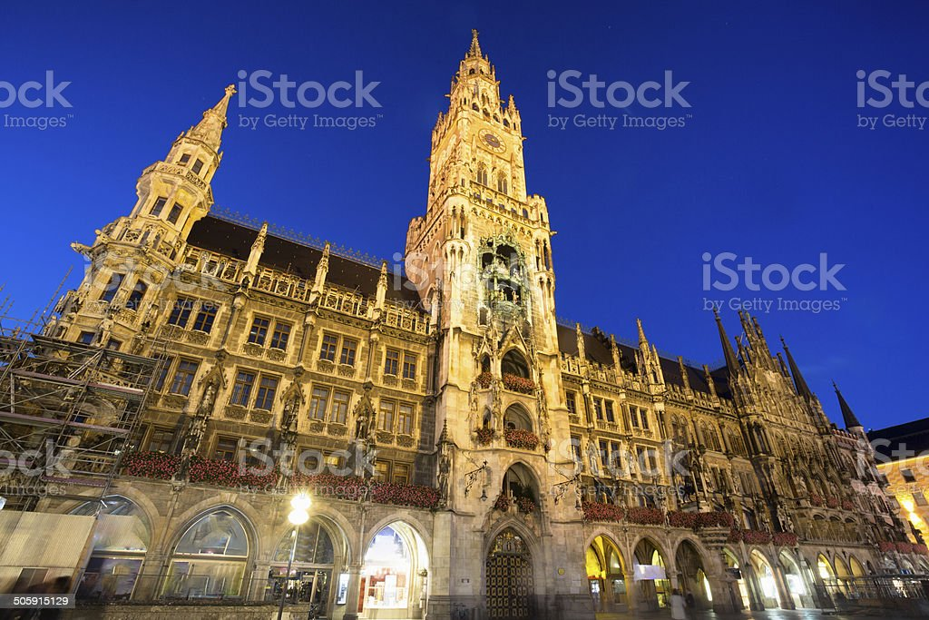 Munich Marienplatz at night stock photo