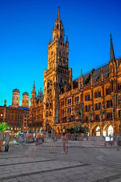 münchen marienplatz - havadi-nagy stock-fotos und bilder