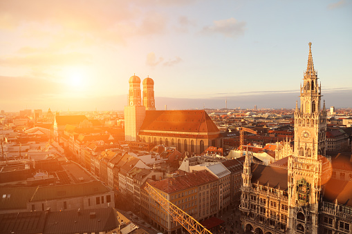 Munich old city aerial view sunset Germany