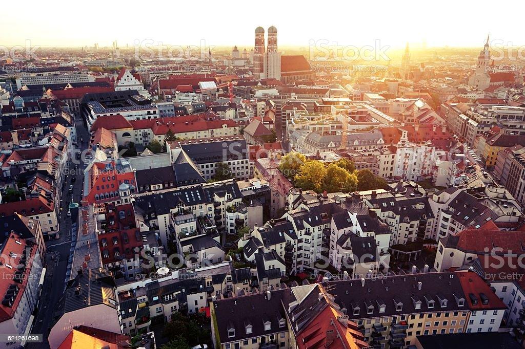 Munich Panorama Aerial Sunrise stock photo