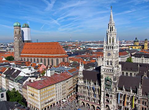 Munich Panoramic View Over The Pedestrian Zone Bavaria Germany - Fotografie stock e altre immagini di 2010