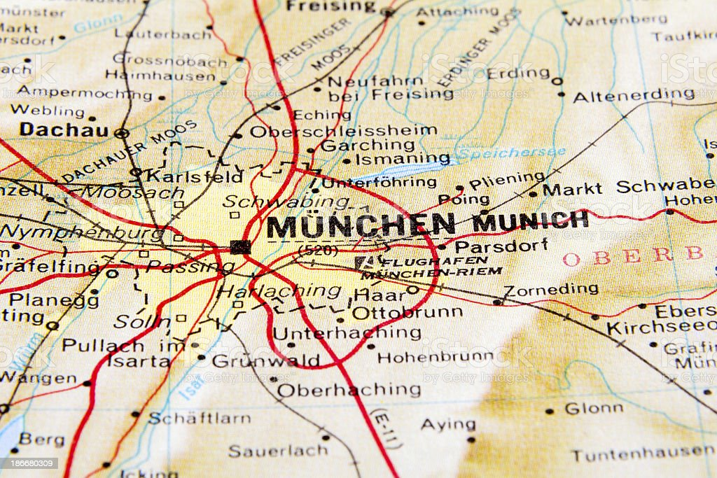 Royalty Free Road Map Map Germany Munich Pictures Images and Stock