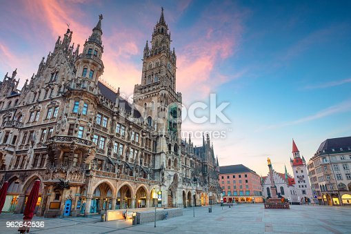Cityscape image of Marien Square in Munich, Germany during twilight blue hour.