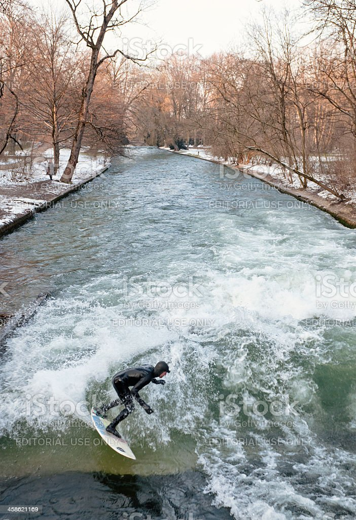 Munich River Surfer in Winter royalty-free stock photo