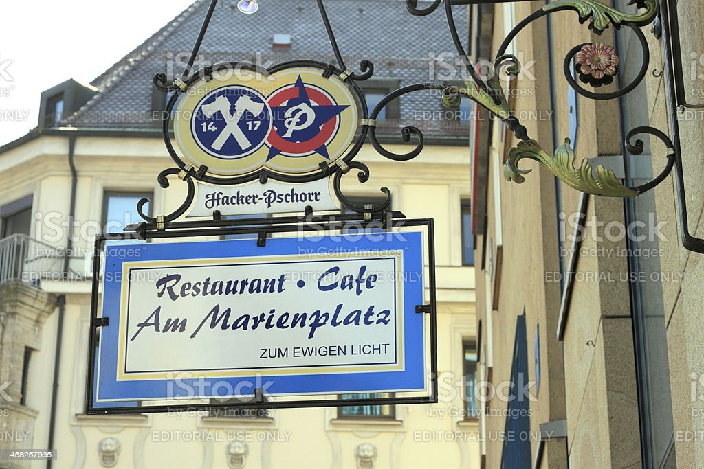 Munich - sign of a restaurant with brewery logo royalty-free stock photo