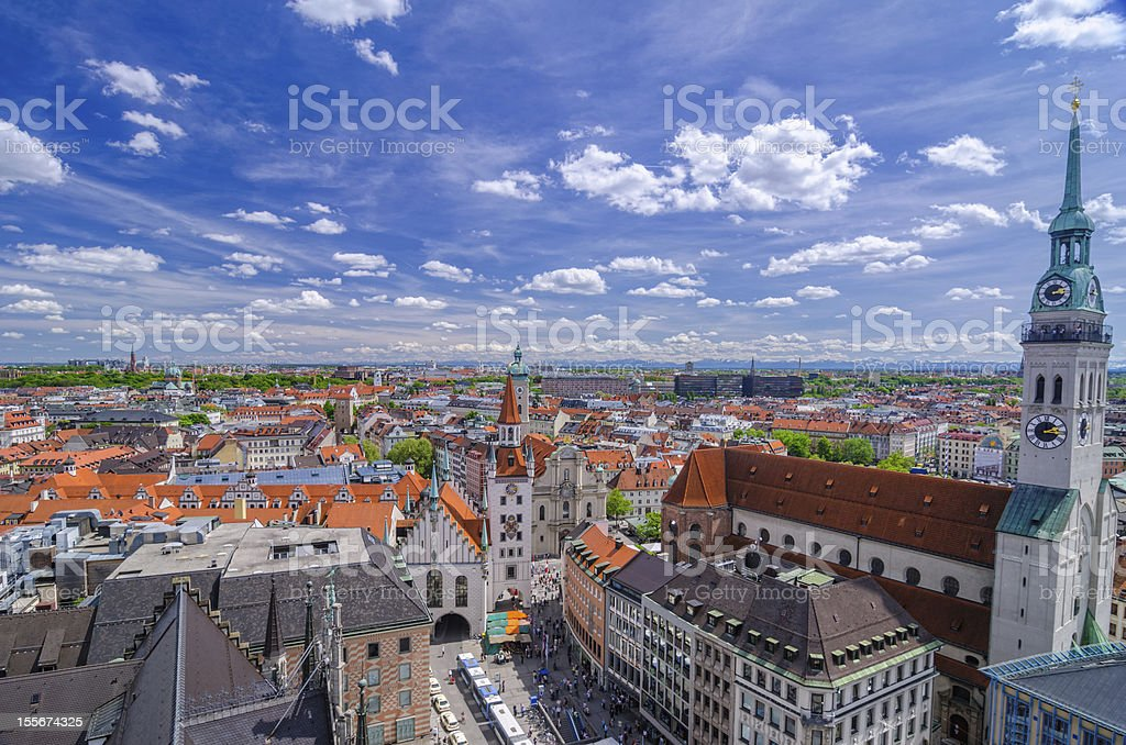 Munich Skyline and Alps stock photo