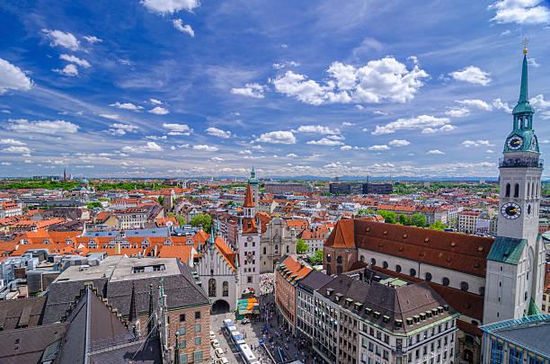 munich skyline and alps - sankt peterskyrkan münchen bildbanksfoton och bilder