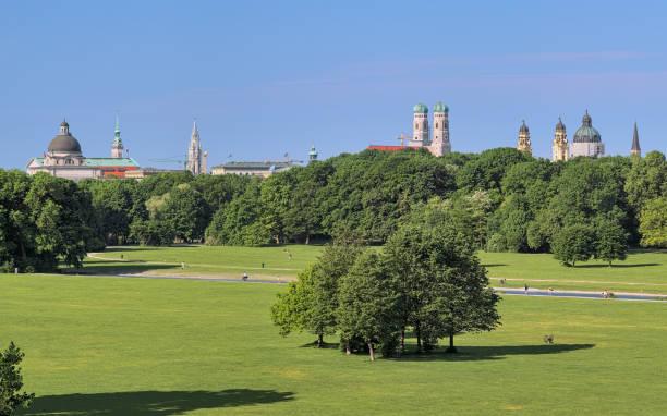 Munich skyline, view from Englischer Garten, Germany stock photo