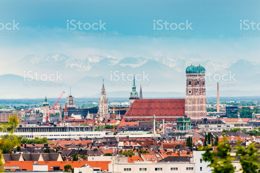 Munich Skyline with Frauenkirche stock photo