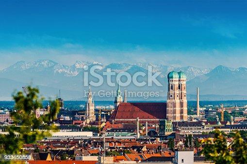 istock Munich Skyline with Frauenkirche 933450858