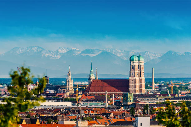Munich Skyline with Frauenkirche Munich, Bavaria, Germany bavarian alps stock pictures, royalty-free photos & images