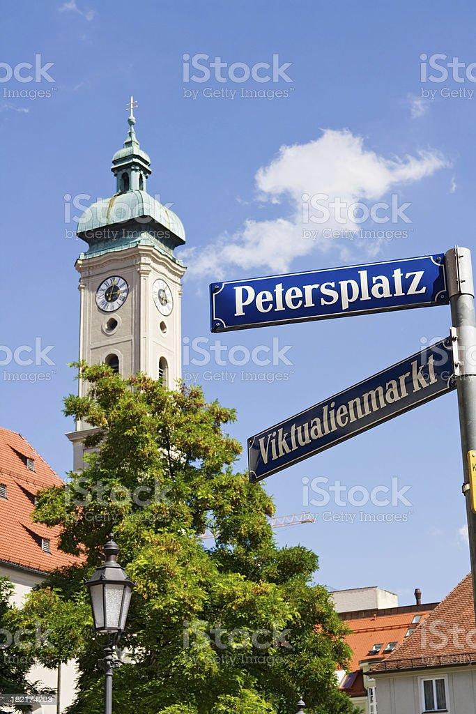 Munich street sign - Petersplatz stock photo