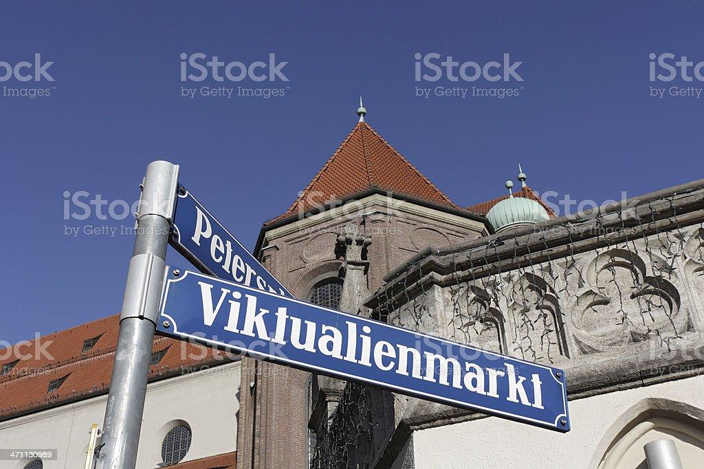 Munich street sign - Viktualienmarkt stock photo