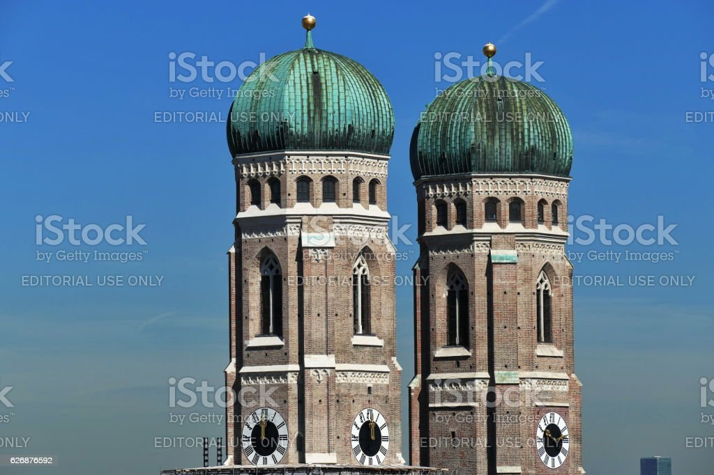 Munich. The two tower of the Cathedral Frauenkirche. stock photo