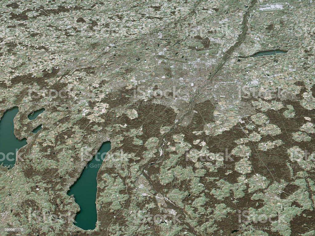 Munich Topographic Map 3D Landscape View Natural Color stock photo