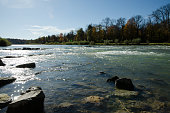 Munich. View of the Isar River, which originates in the Austrian Alps. In spring this river is especially beautiful.