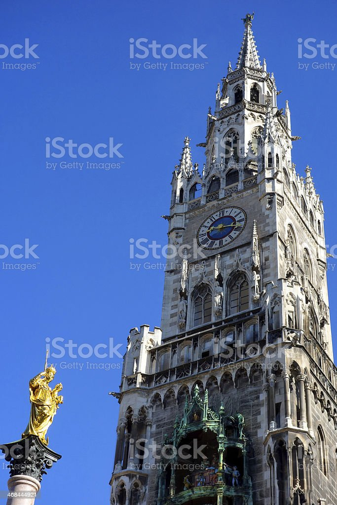 Munich's New Town Hall and St. Mary's Column at Marienplatz royalty-free stock photo