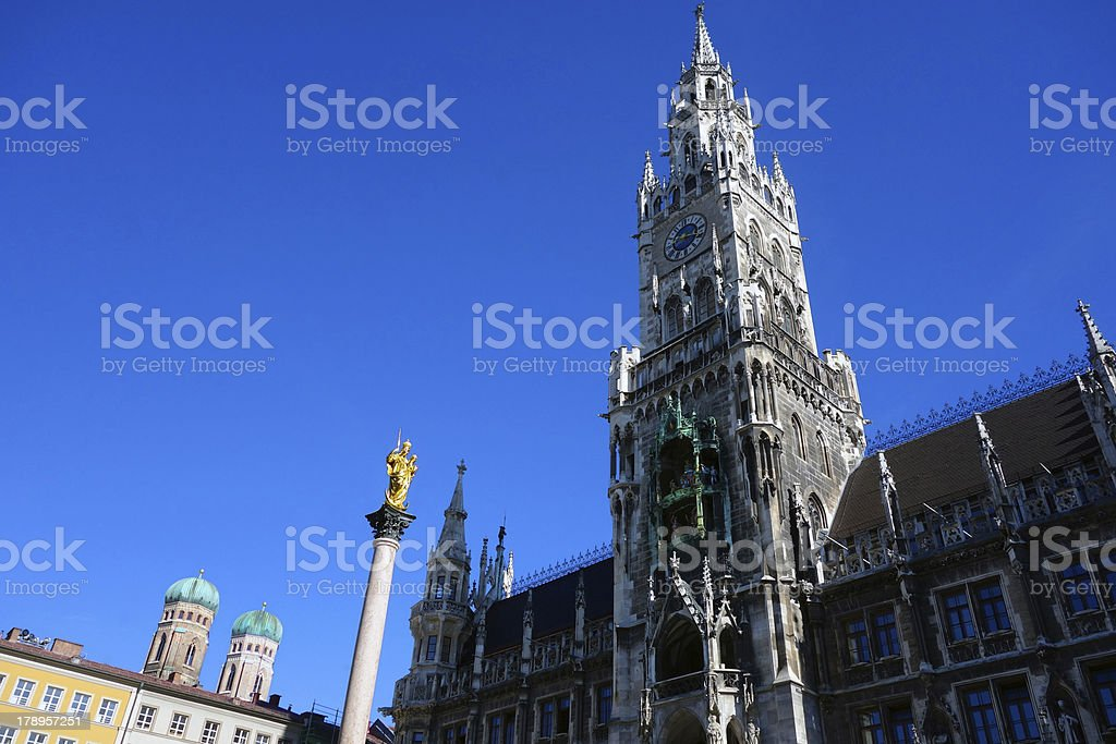 Munich's New Town Hall, Cathedral and the marie column royalty-free stock photo